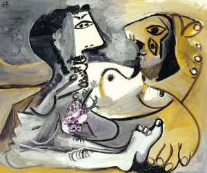 Naked man and woman by Pablo Picasso