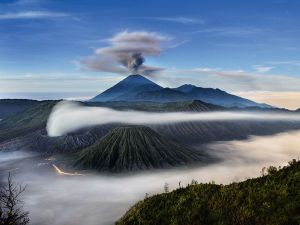 volcano in the clouds